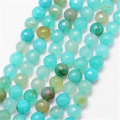 Turquoise Natural Crackle Agate Bead Strands, Round, Grade A, Faceted, Dyed & Heated, Turquoise, 8mm, Hole: 1mm; about 47pcs/strand, 15""