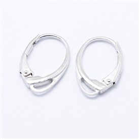 925 Sterling Silver Leverback Earrings, Carved with 925