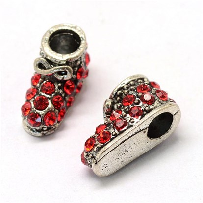Alloy Rhinestone European Beads, Large Hole Beads, Boot, Antique Silver-1