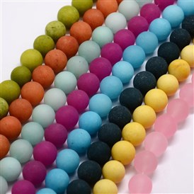 Frosted Natural Malaysia Jade Round Beads Strands, Dyed
