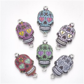 Printed Alloy Links, with Enamel, Skull, Platinum