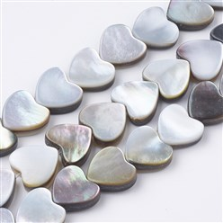 Black Lip Shell Black Lip Shell Beads Strands, Heart, 9x10x3~4mm, Hole: 0.8mm; about 44pcs/strand, 15.16""