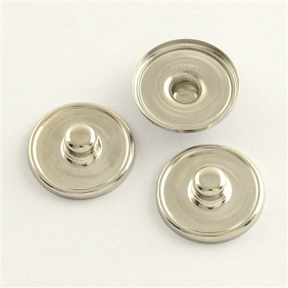 Brass Snap Button Cabochon Settings, Stud Findings, Flat Round, 18x6mm; knob: 5mm; Tray: 18mm-1