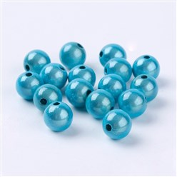 Cyan Spray Painted Miracle Acrylic Beads, Bead in Bead, Round, Cyan, 8mm, Hole: 1.8mm; about 1800pcs/500g