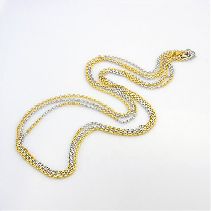 "Men's 304 Stainless Steel Cross Chain Necklaces, with Lobster Claw Clasps, Faceted, 29.5""(749mm)-1"