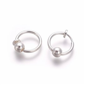 Electroplate Brass Retractable Clip-on Earrings, Non Piercing Spring Hoop Earrings, Cartilage Earring, with Removable Beads
