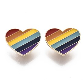 Alloy Brooches, with Enamel and Brass Butterfly Clutches, Rainbow Heart, Light Gold