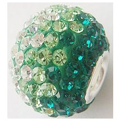 205_Emerald Austrian Crystal with Sterling Silver Single Core European Beads, Large Hole Beads, Rondelle, 205_Emerald, 14x12mm, Hole: 4.5mm