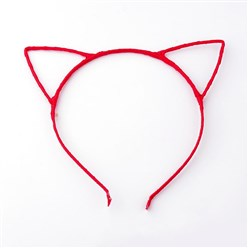 Red Hair Accessories Iron Hair Band Findings, with Polyester Ribbon, Cat, Red, 113~124mm
