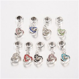 Heart Antique Silver Plated Alloy Rhinestone European Dangle Beads Large Hole Pendants, 27x9x4.5mm, Hole: 5mm