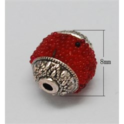 Red Handmade Indonesia Beads, with Brass Core, Round, Red, Size: about 8mm in diameter, 9mm thick, hole: 1mm