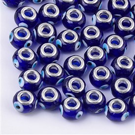 Handmade Lampwork European Beads, Large Hole Beads, with Platinum Tone Brass Double Cores, Rondelle with Evil Eye