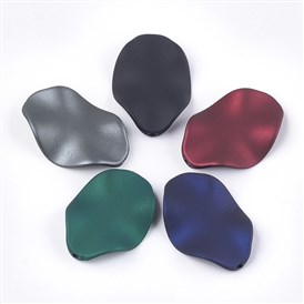 Rubberized Style Acrylic Beads, Wave, Petal