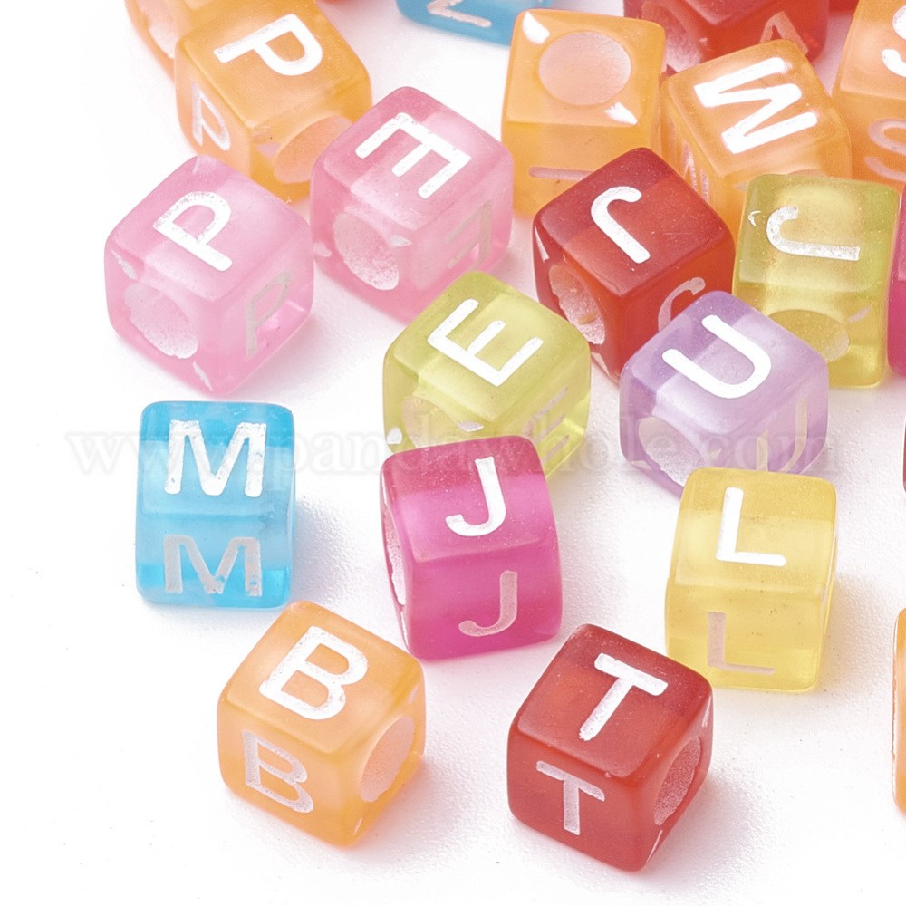 Transparent Acrylic Beads, Cube with Initial Letter