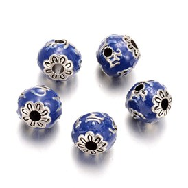 Antique Silver Plated Alloy Enamel Round Beads, 12mm, Hole: 3mm