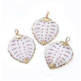 Electroplated Shell Big Pendants, with Brass Pendant Findings, Leaf