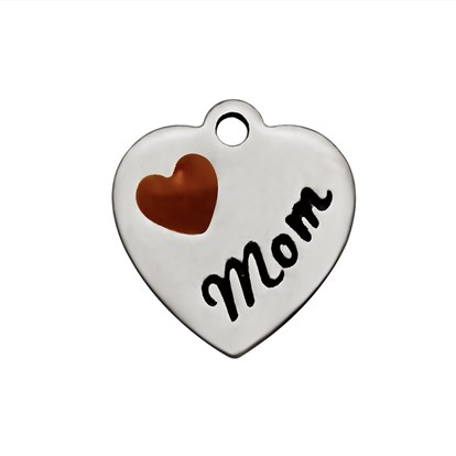 304 Stainless Steel Enamel Charms, Heart with Word Mom-1