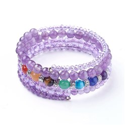Amethyst Natural Amethyst and Mixed Gemstone Warp Bracelets, with Glass Beads and Alloy Findings, 50mm