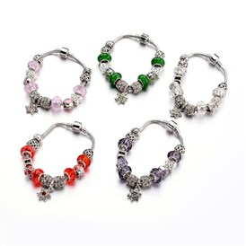 Fashion Brass European Bracelets, with Glass Beads and Alloy Rhinestone Beads, 190x3mm