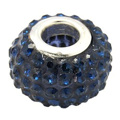 Montana Grade A Rhinestone European Beads, Large Hole Beads, Resin, with Silver Color Brass Core, Rondelle, Montana, 12x8mm, Hole: 4mm