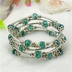 Teal Fashion Wrap Bracelets, with Rondelle Glass Beads, Tibetan Style Bead Caps, Brass Tube Beads and Steel Memory Wire, Teal, Inner Diameter: 55mm