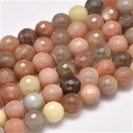 Grade AA Natural Sunstone Faceted Round Beads Strands