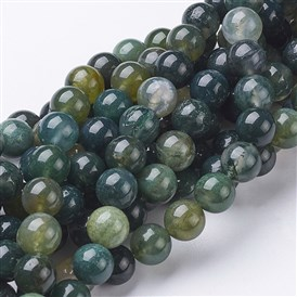 Natural Moss Agate Beads Strands, Round, 4~8mm, Hole: 0.8~1mm