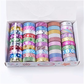 DIY Scrapbook Pulled, Random Single Color or Random Mixed Color Glitter Decorative Adhesive Tapes Set