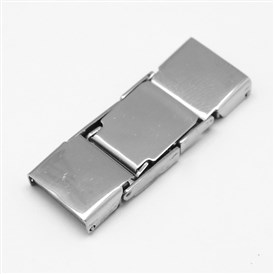 Rectangle 304 Stainless Steel Watch Band Clasps, 33x11x4mm, Hole: 1x10mm