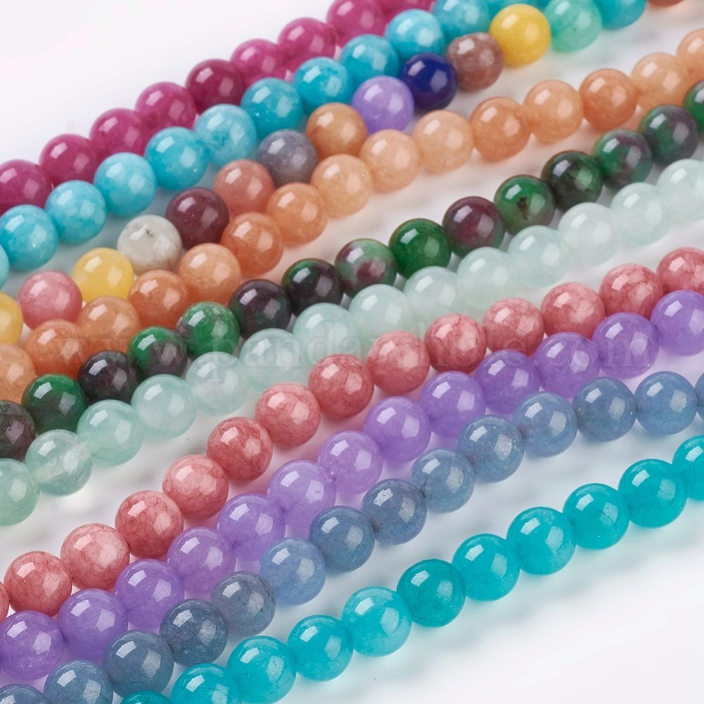 Dyed White Jade 14mm Faceted Round Ball Semi Precious Stone Beads Q1 Strand