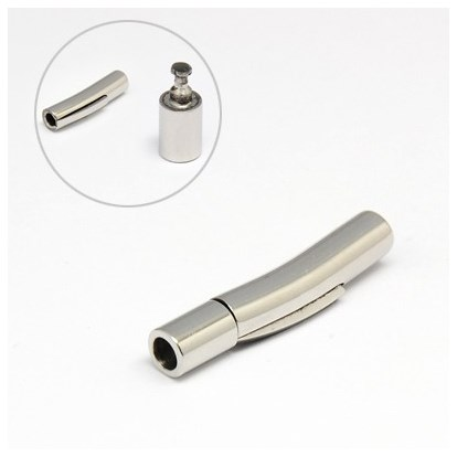 304 Stainless Steel Bayonet Clasps, Column, 30x6mm, Hole: 3mm-1