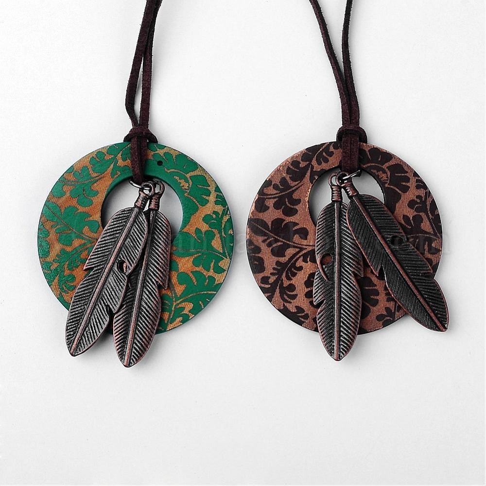 56f35f0924 Alloy Painted Wood Pendants Necklaces, with Wool Cord, Flat Round & Red  Copper Feather