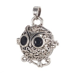 Antique Silver Environmental Brass Cage Pendants, For Chime Ball Pendant Necklaces Making, with Jet Grade A Rhinestone, Cadmium Free & Nickel Free & Lead Free, Hollow Owl, Antique Silver, 22x19x16mm, Hole: 3x4mm; Inner Diameter: 13mm