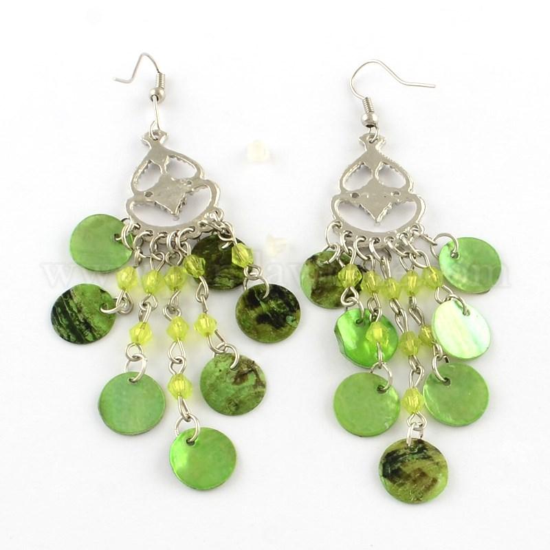 Fancy Style Shell Chandelier Dangle Earrings, Alloy Rhinestone Findings and  Glass Beads, with Iron Earring Hooks, 88mm