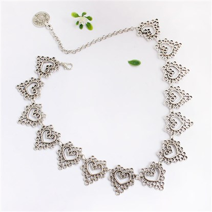 Alloy Bib Necklaces, with Hollow Heart-1
