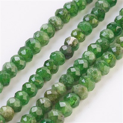 Natural Diopsidel Beads Strands, Faceted, Rondelle