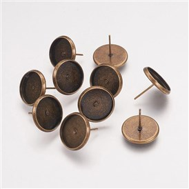 Brass Earring Settings, Flat Round, Tray: 12mm; 14x0.8mm