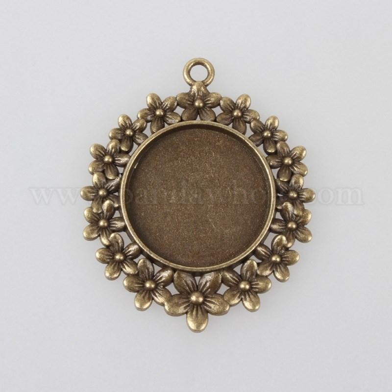 Flat Round Vintage Tibetan Style Alloy Pendant Cabochon Jewelry Bezel Settings