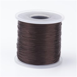 Coffee Japanese Flat Elastic Crystal String, Elastic Beading Thread, for Stretch Bracelet Making, Coffee, 0.5mm; about 300m/roll