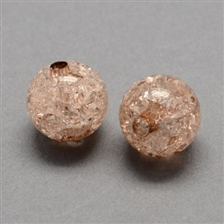 Camel Transparent Crackle Acrylic Beads, Round, Camel, 8mm, Hole: 2mm; about 1890pcs/500g