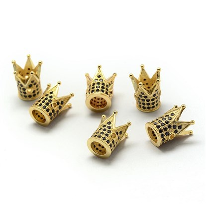 Rack Plating Brass Cubic Zirconia Beads, Long-Lasting Plated, Crown