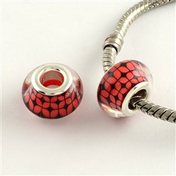 Red Large Hole Grid Pattern Acrylic European Beads, with Platinum Tone Brass Double Cores, Rondelle, Red, 14x9mm, Hole: 5mm