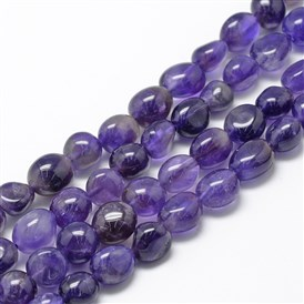 Natural Amethyst Beads Strands, Grade A, Oval