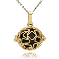 Black Golden Tone Brass Hollow Round Cage Mexican Ball Pendants, with No Hole Spray Painted Brass Ball Beads, Black, 23x24x18mm, Hole: 3x8mm