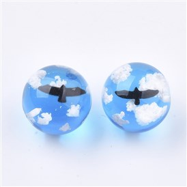 Transparent Resin Beads, Half Drilled, Round with Bird and Cloud