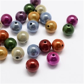 Spray Painted Acrylic Beads, Miracle Beads, Round, Bead in Bead