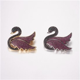 Brass Micro Pave Cubic Zirconia Brooches, Swan