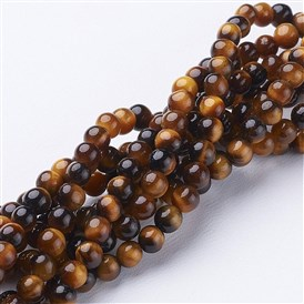 Natural Tiger Eye Beads Strands, Grade A, Round, 4mm, Hole: 0.8mm