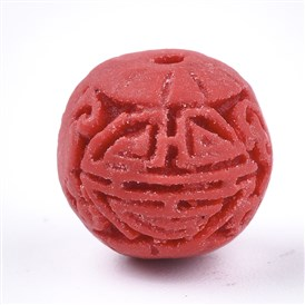 Cinnabar Beads, Carved Lacquerware, Round