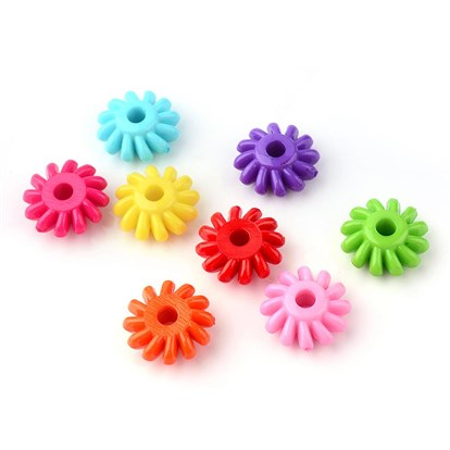 Opaque Acrylic European Beads, Large Hole Beads, Flower-1